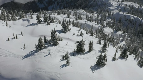 Skiing through the snowy relief of Canada
