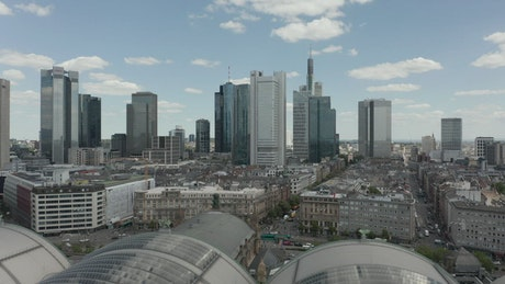 Skyline view of Frankfurt and its buildings