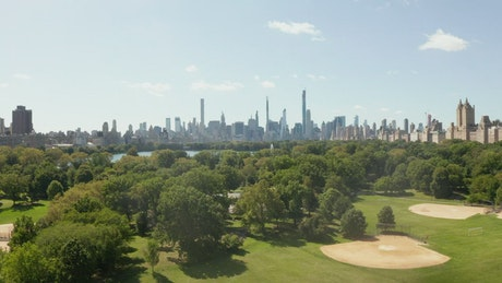 Skyline view of New York city from Central Park
