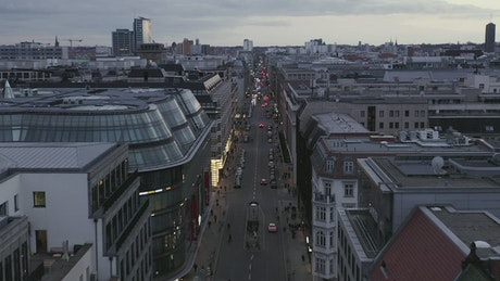 Skyline view of the city of Berlin on an avenue