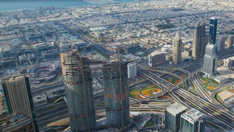 Skyscapers, roads and the suburbs in Dubai