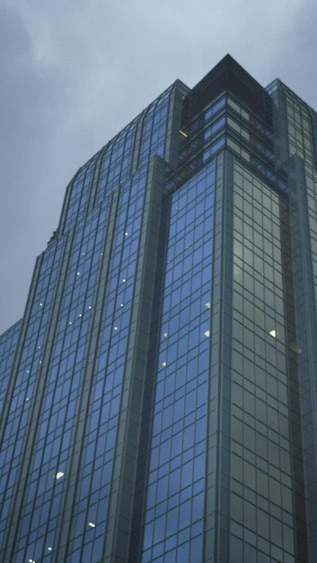 Skyscraper in the city seen when walking the street