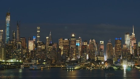 Skyscraper lights across the city