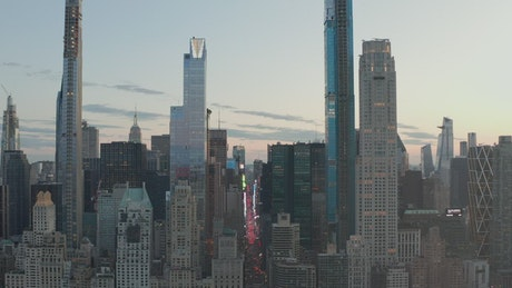Skyscrapers and an avenue through New york city