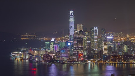 Skyscrapers in Hong Kong bay at night