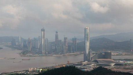 Skyscrapers in the China and Macau border