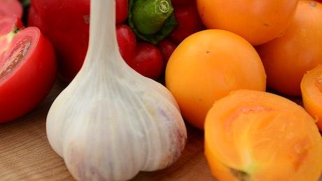Sliced fresh fruit and vegetables