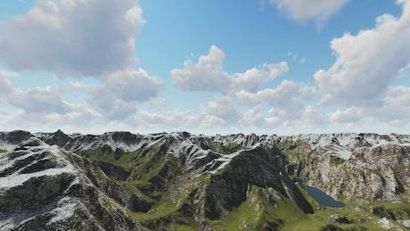 Slightly snowy mountain range on a sunny day