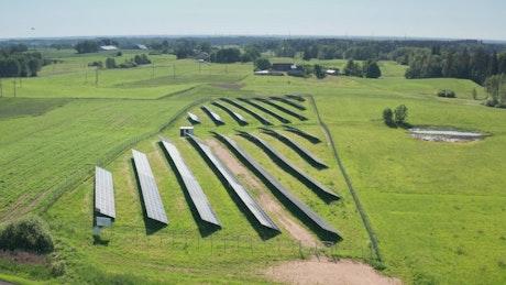 Slow aerial shot of a solar grid