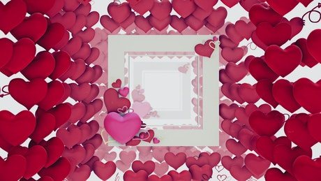 Slowly crossing a tunnel made of hearts, 3D