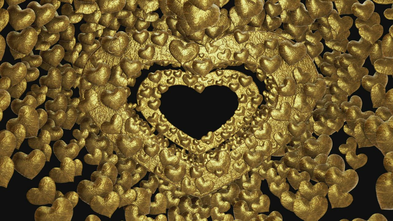 Slowly Crossing Through A Tunnel Of Golden Hearts