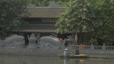 Small boat in a Hanoi river