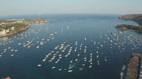 Small boats anchored in a harbor