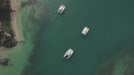 Small boats around Mauritius Island