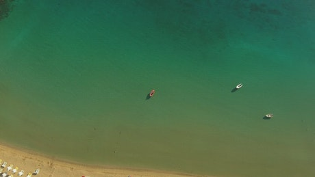 Small boats in the ocean