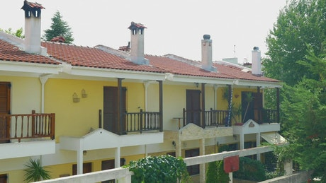 Small buildings with balconies