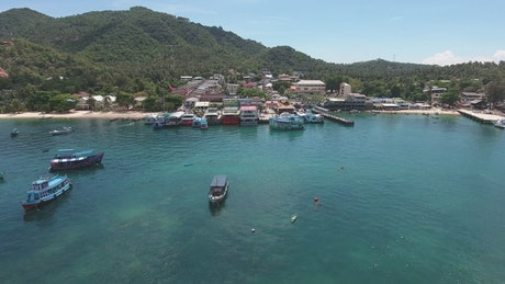 Small Caribbean port in a village