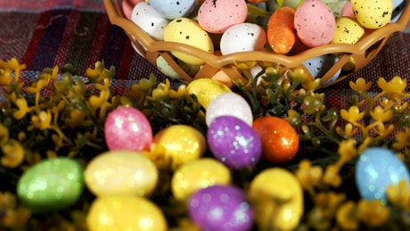 Small easter eggs in a basket