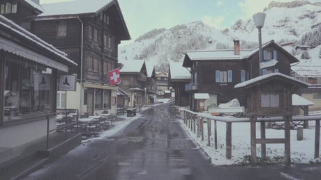 Small European town in winter