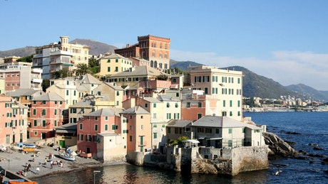 Small harbour of a town in Italy