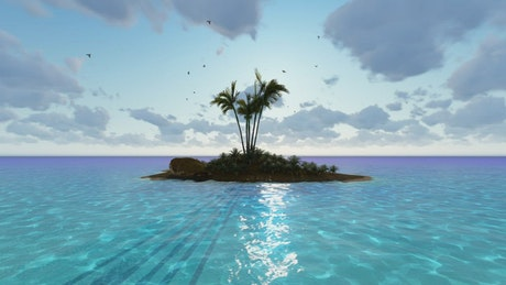 Small island paradise made in 3D on a sunny day