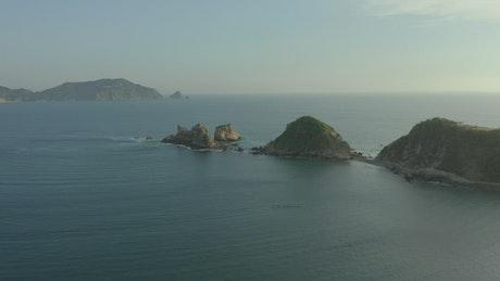 Small rocky islands on a peninsula