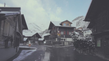 Small snowy town