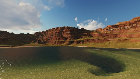 Small sunny lake surrounded by plateaus in 3D