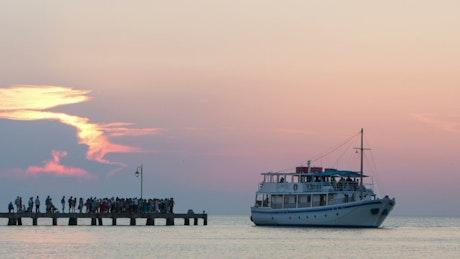 Small tourist boat full of passengers