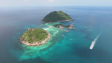 Small tropical islands in the sea