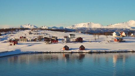 Small village in a winter landscape