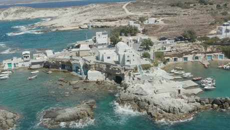 Small village on the seashore in Greece