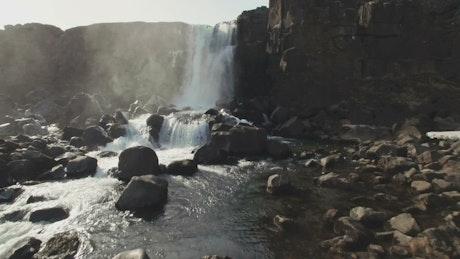Small waterfall in a mountain region