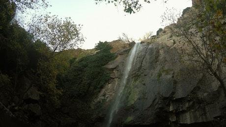 Small waterfall seen from below