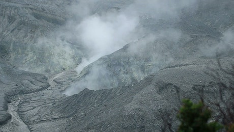 Smoke coming from a volcanic crater