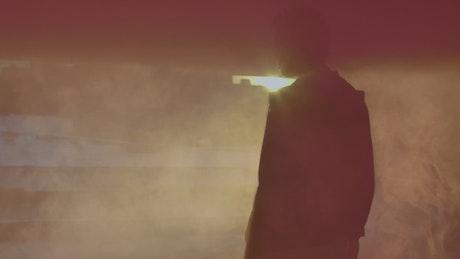 Smoky silhouette of a man
