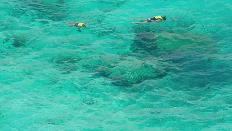 Snorkeling on turquoise waters