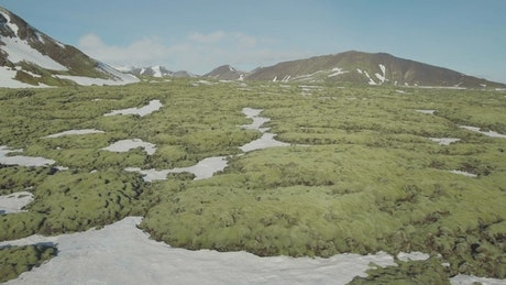 Snow between rocks