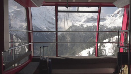 Snow-capped mountains seen from cable car station