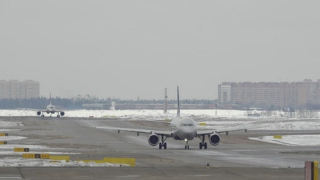 Snow cleared from a runway