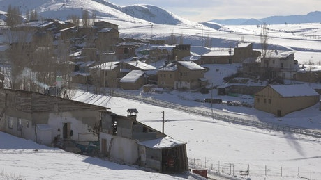 Snow covered village landscape