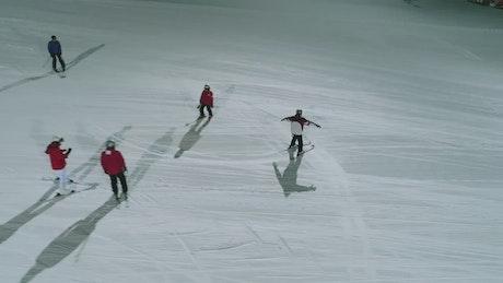 Snowboarding at night