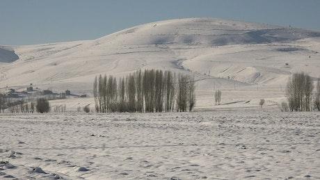 Snowed plain and hills landscape