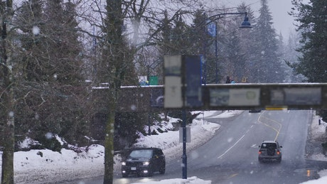 Snowing around a pedestrian bridge in Canada