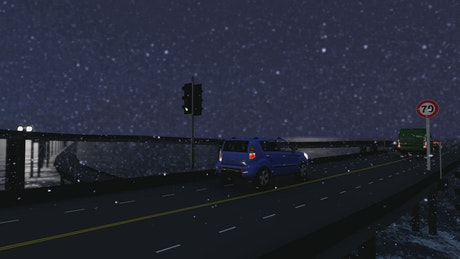 Snowing in the highway, 3D animation