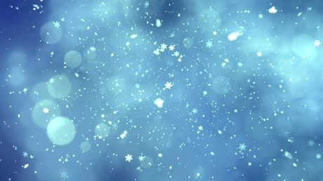 Snowing snowflakes on blue background