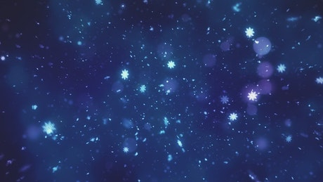 Snowing snowflakes on dark blue background