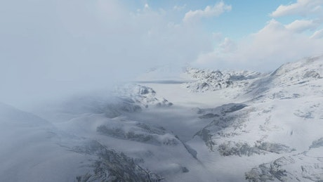 Snowy mountainous area under the clouds, 3D