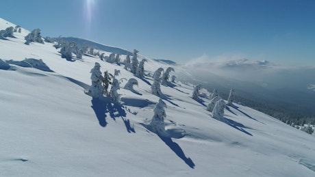 Snowy ski mountain, aerial view