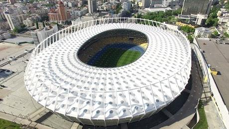 Soccer stadium aerial view